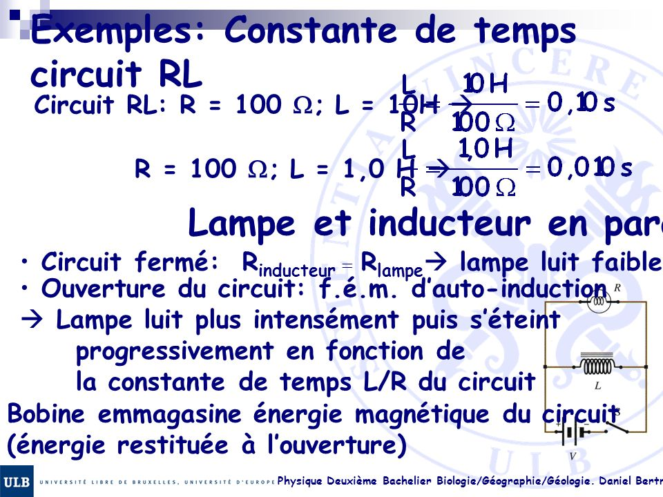 Exemples: Constante de temps circuit RL