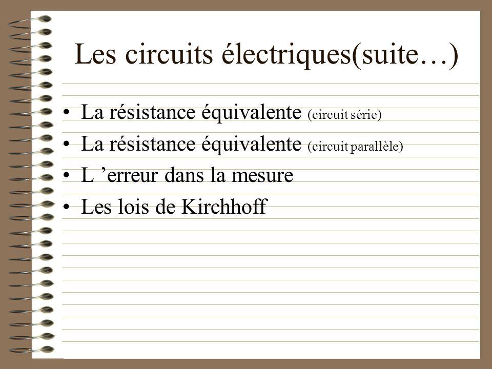 Les circuits électriques(suite…)
