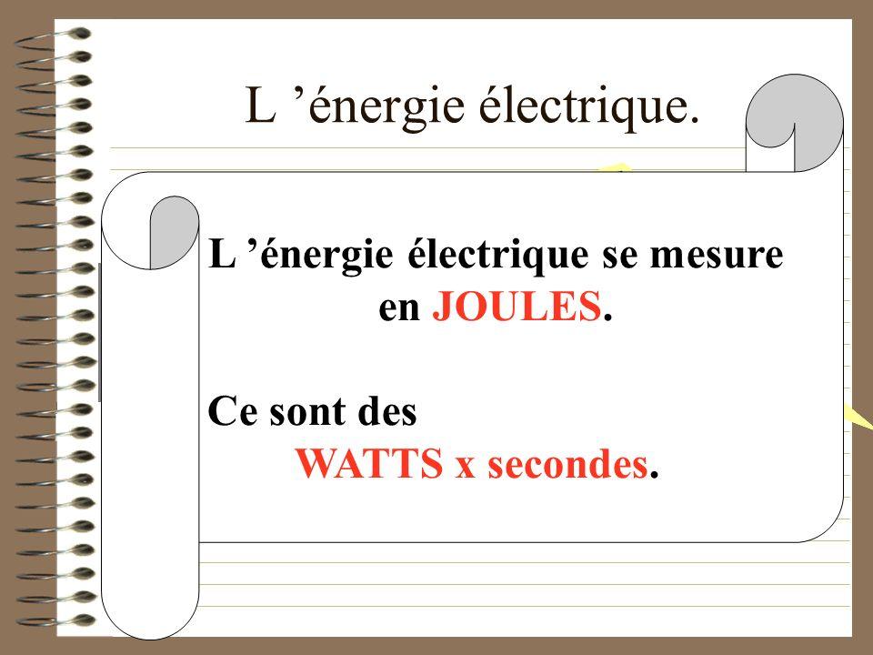 L 'énergie électrique. L 'énergie électrique se mesure en JOULES.