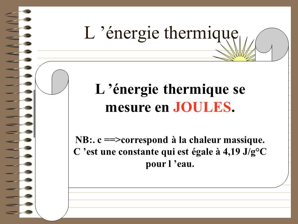 L 'énergie thermique L 'énergie thermique se mesure en JOULES.
