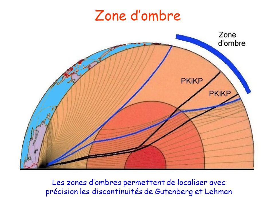 Zone d'ombre Les zones d'ombres permettent de localiser avec précision les discontinuités de Gutenberg et Lehman.