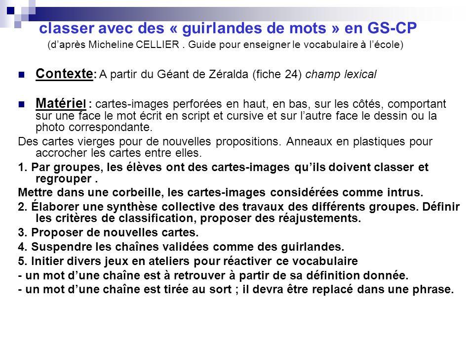 classer avec des « guirlandes de mots » en GS-CP (d'après Micheline CELLIER . Guide pour enseigner le vocabulaire à l'école)