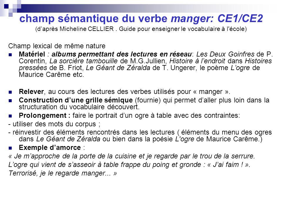 champ sémantique du verbe manger: CE1/CE2 (d'après Micheline CELLIER