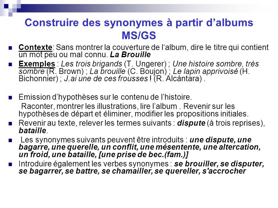 Construire des synonymes à partir d'albums MS/GS