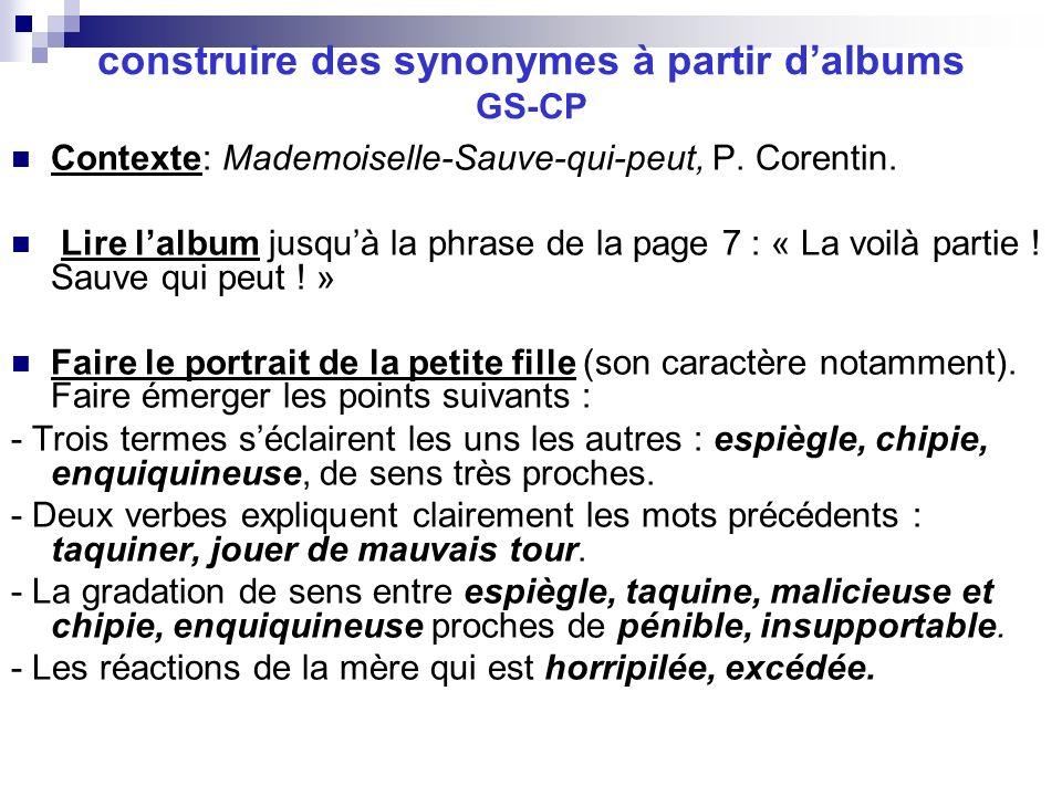 construire des synonymes à partir d'albums GS-CP