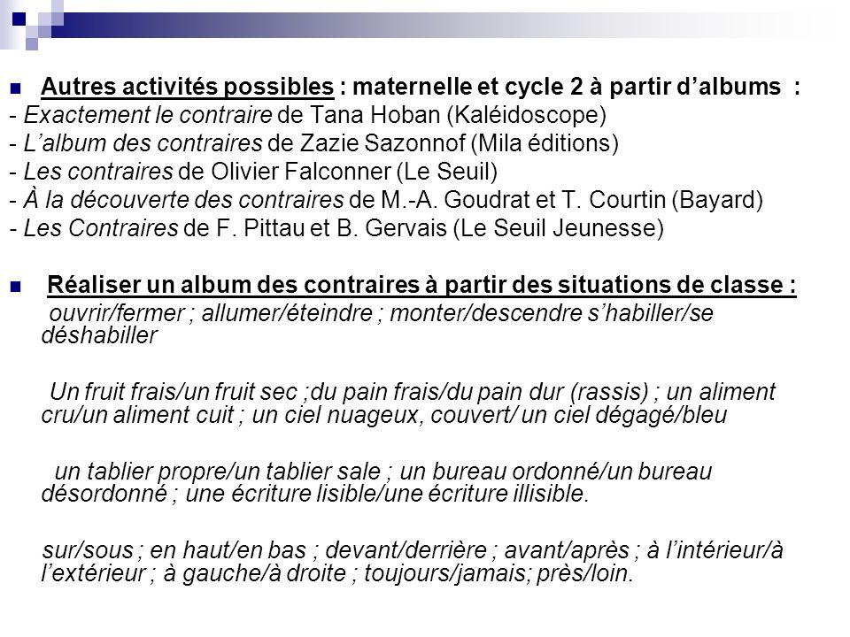 Autres activités possibles : maternelle et cycle 2 à partir d'albums :