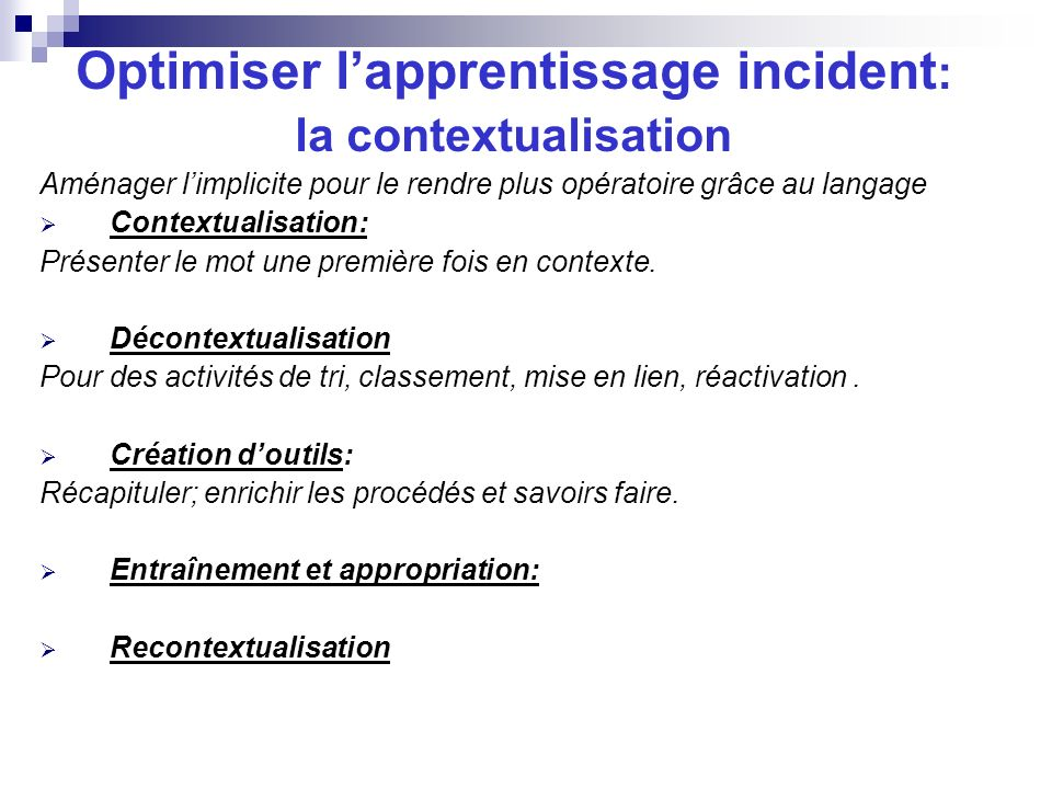 Optimiser l'apprentissage incident: