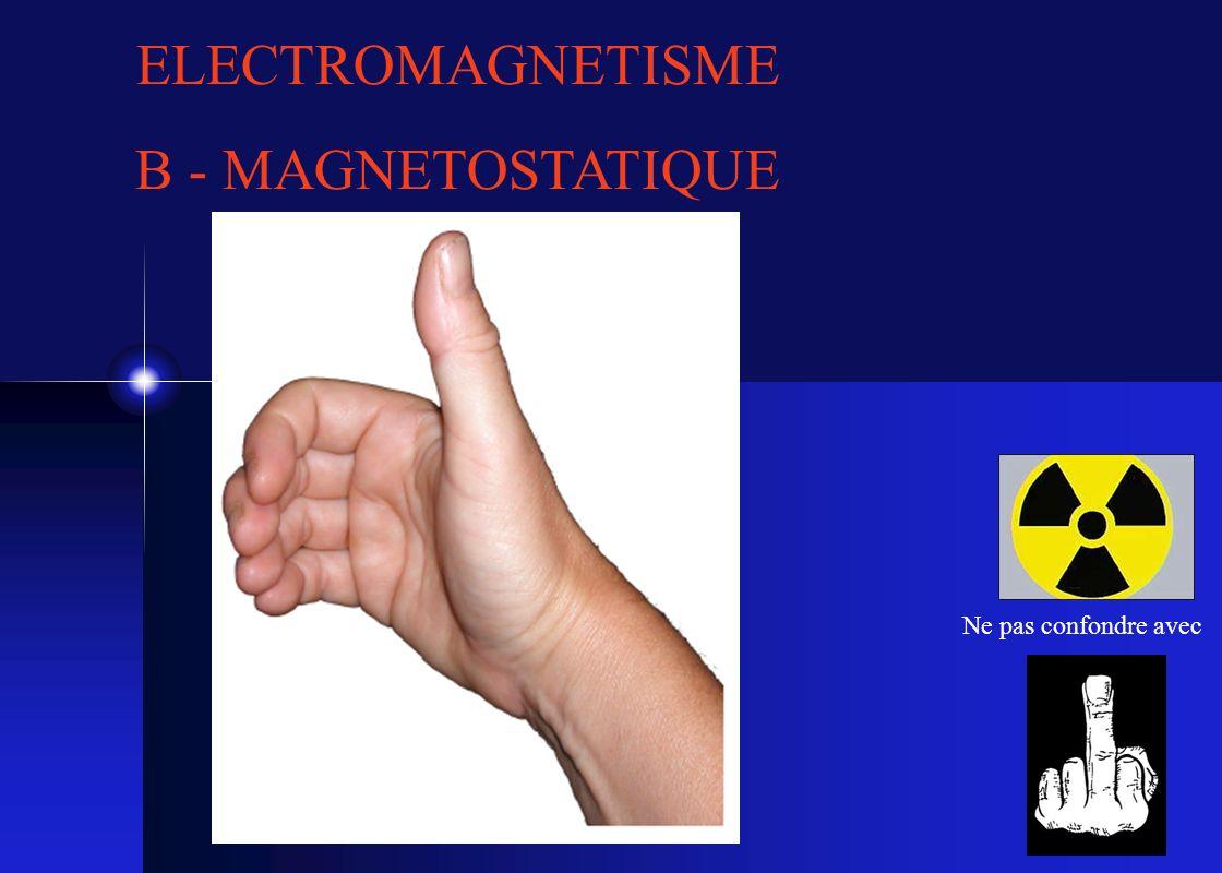 ELECTROMAGNETISME B - MAGNETOSTATIQUE Ne pas confondre avec