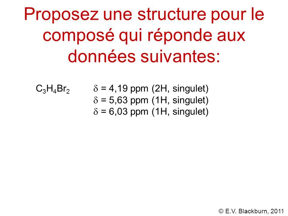 Proposez une structure pour le composé qui réponde aux données suivantes: