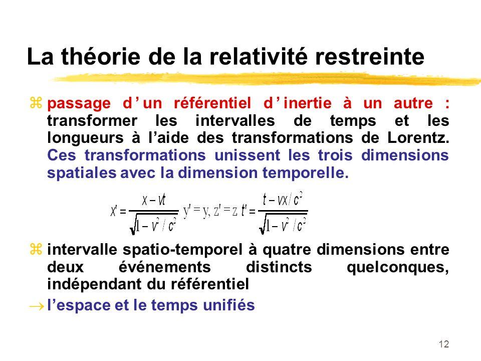La théorie de la relativité restreinte