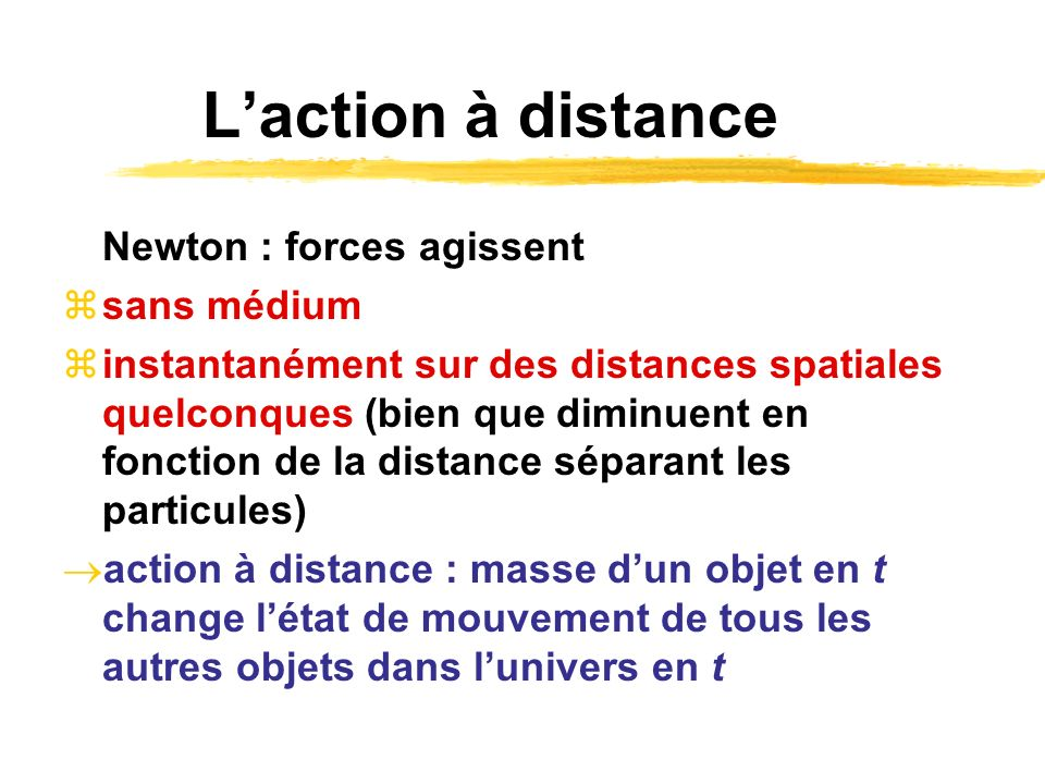 L'action à distance Newton : forces agissent sans médium