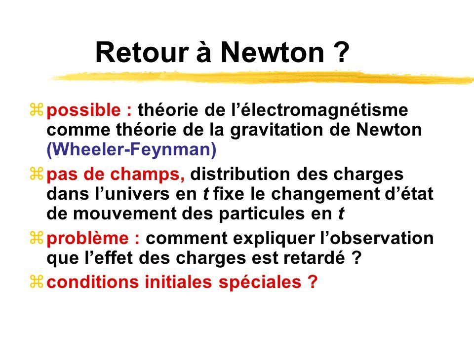 Retour à Newton possible : théorie de l'électromagnétisme comme théorie de la gravitation de Newton (Wheeler-Feynman)