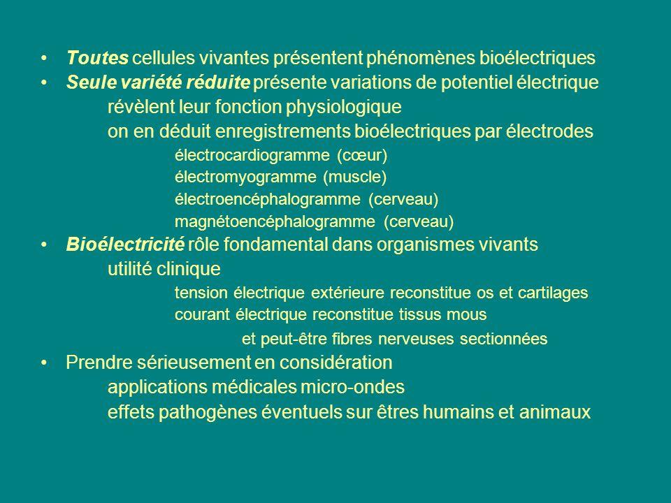 Toutes cellules vivantes présentent phénomènes bioélectriques