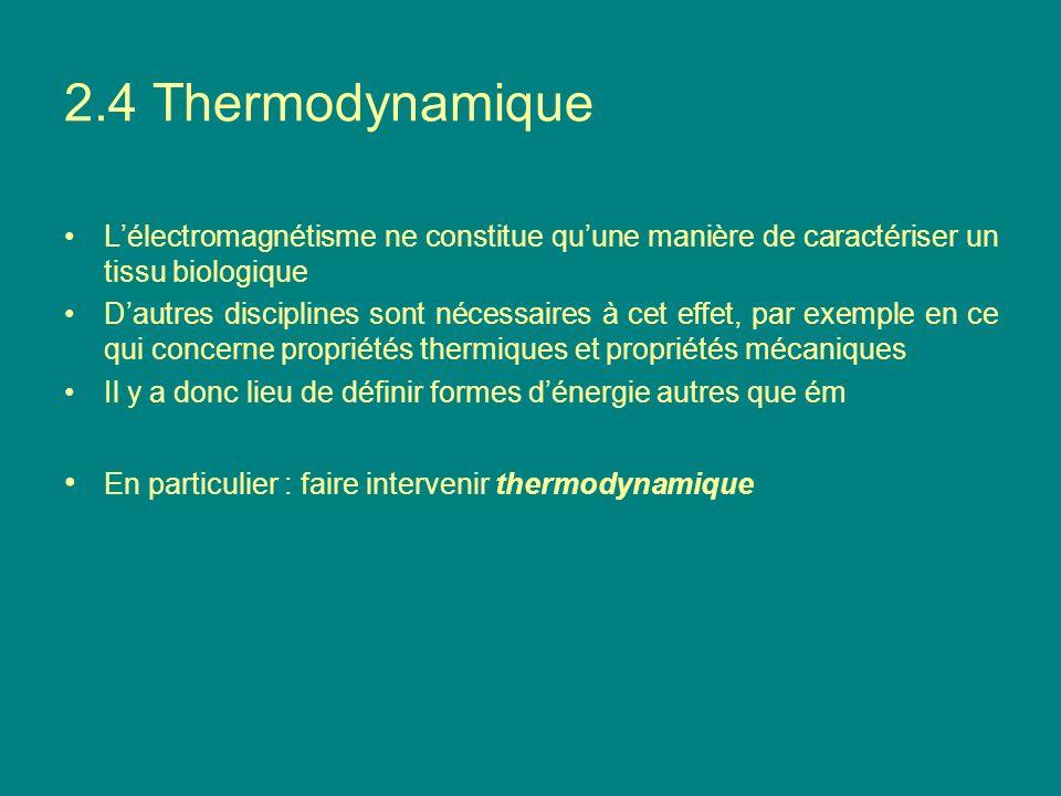 2.4 Thermodynamique L'électromagnétisme ne constitue qu'une manière de caractériser un tissu biologique.