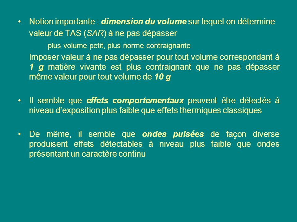 Notion importante : dimension du volume sur lequel on détermine
