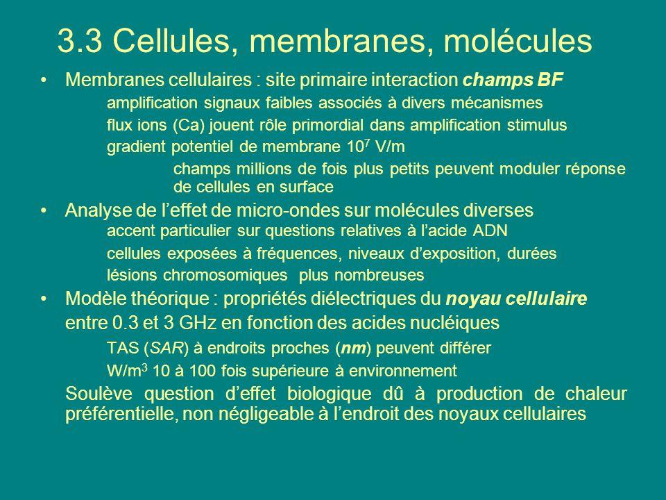 3.3 Cellules, membranes, molécules