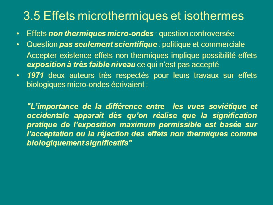 3.5 Effets microthermiques et isothermes