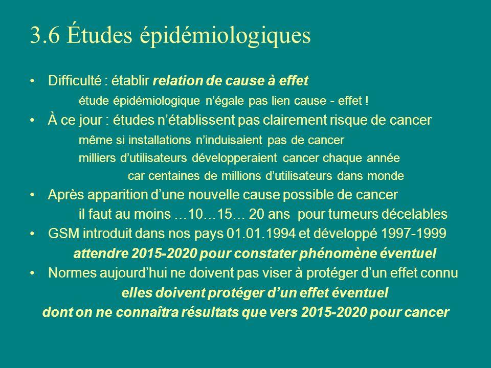 3.6 Études épidémiologiques