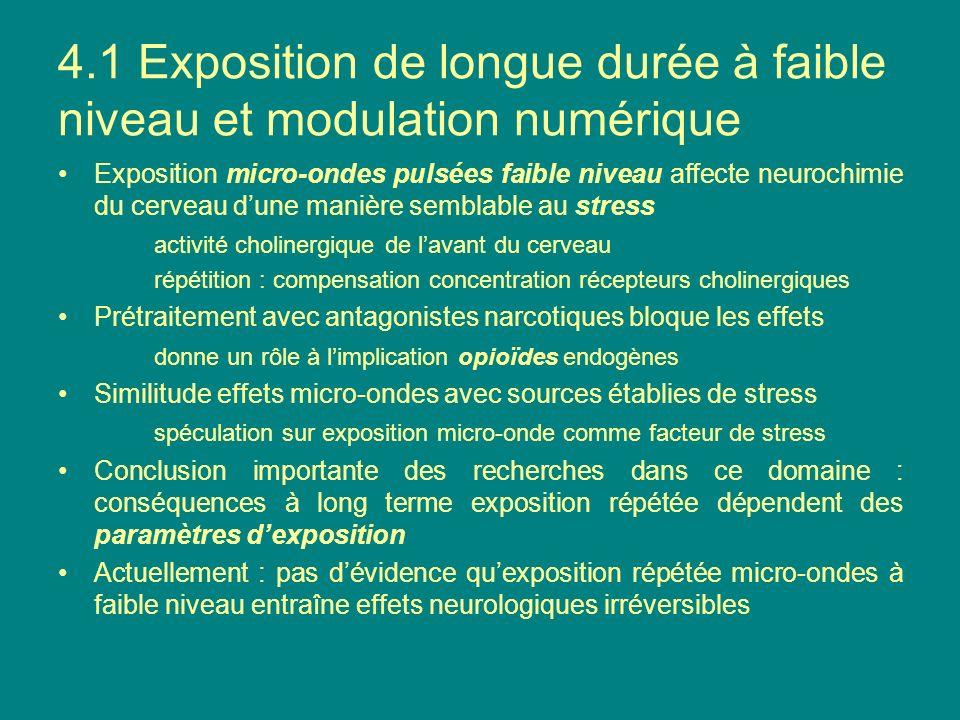 4.1 Exposition de longue durée à faible niveau et modulation numérique