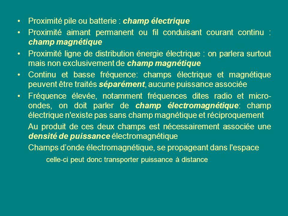 Proximité pile ou batterie : champ électrique