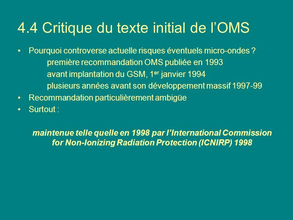 4.4 Critique du texte initial de l'OMS