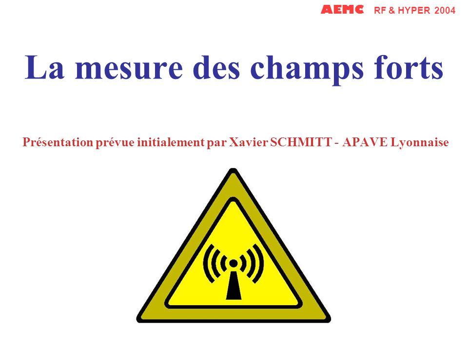 La mesure des champs forts Présentation prévue initialement par Xavier SCHMITT - APAVE Lyonnaise