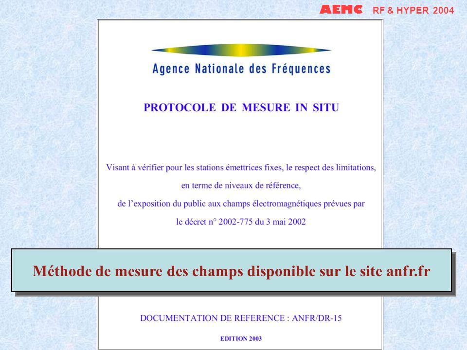 Méthode de mesure des champs disponible sur le site anfr.fr