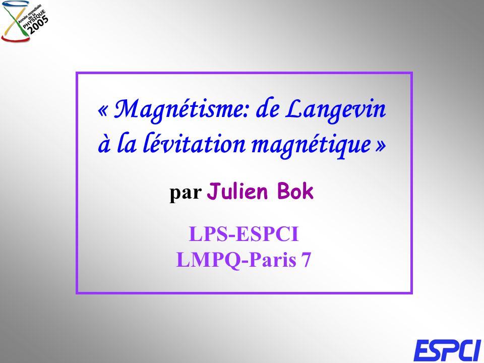 « Magnétisme: de Langevin à la lévitation magnétique »