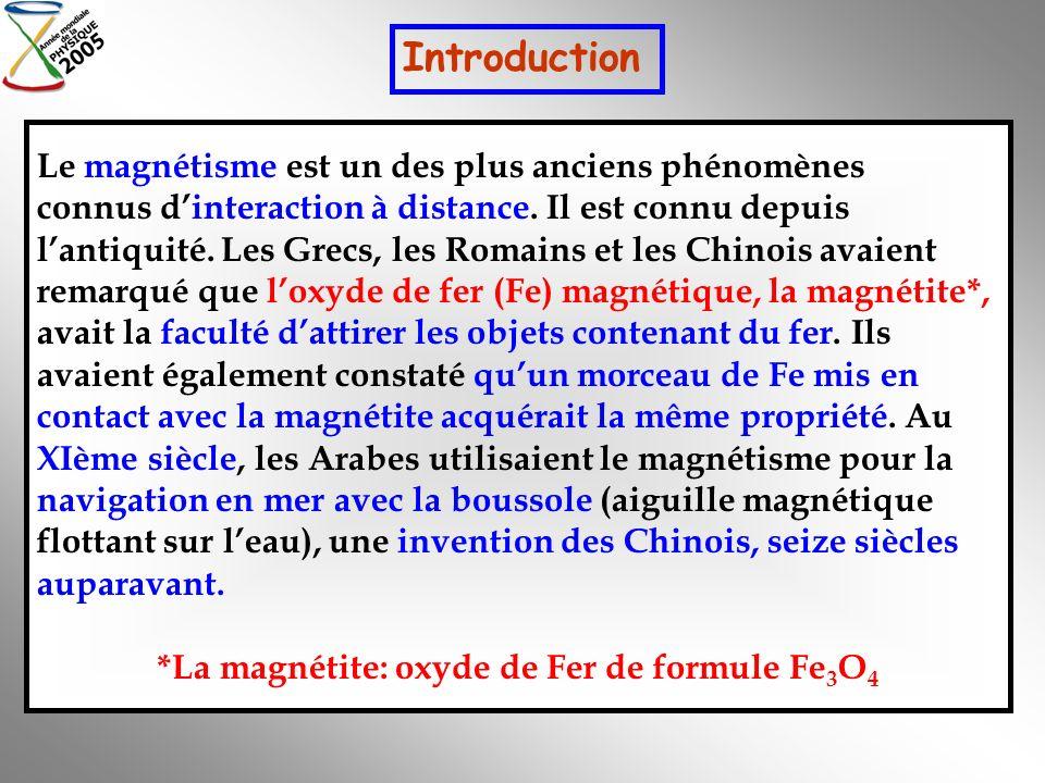 *La magnétite: oxyde de Fer de formule Fe3O4
