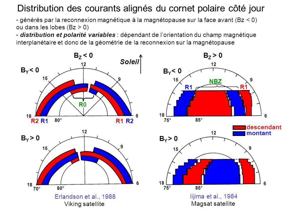 Distribution des courants alignés du cornet polaire côté jour