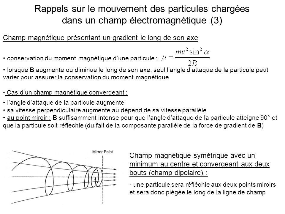 Rappels sur le mouvement des particules chargées dans un champ électromagnétique (3)