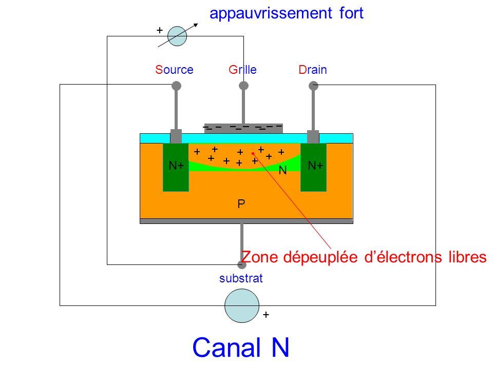 Canal N appauvrissement fort Zone dépeuplée d'électrons libres +