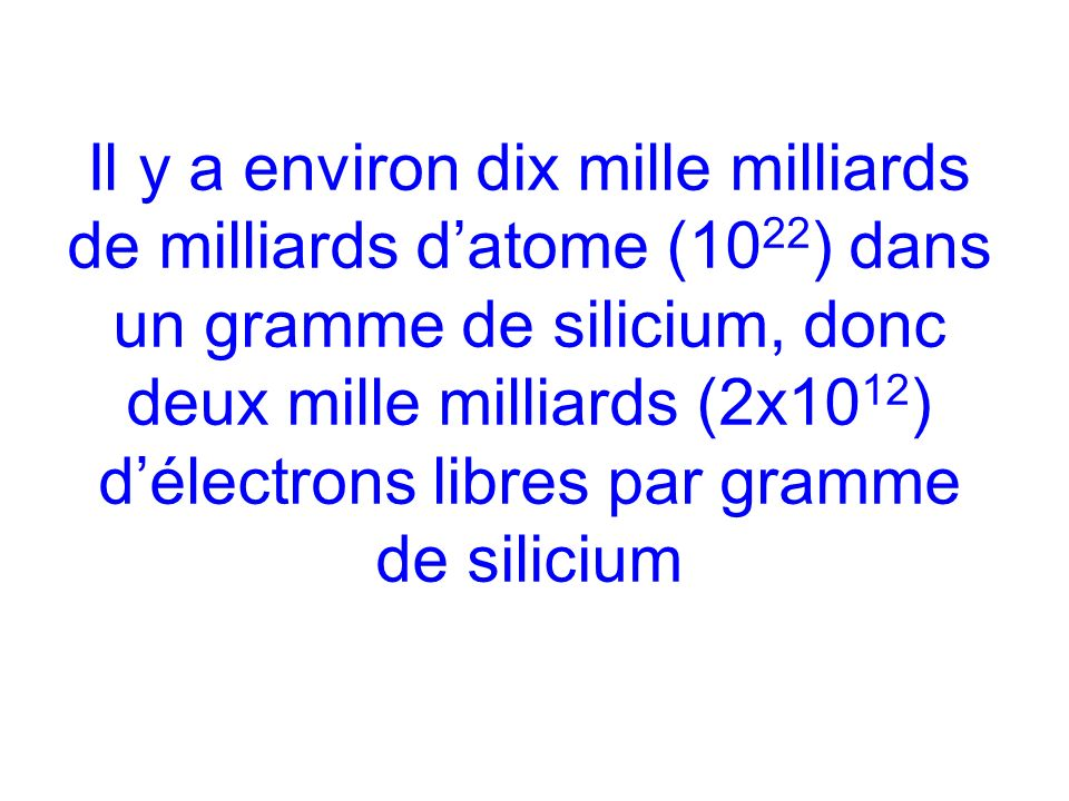 Il y a environ dix mille milliards de milliards d'atome (1022) dans un gramme de silicium, donc deux mille milliards (2x1012) d'électrons libres par gramme de silicium