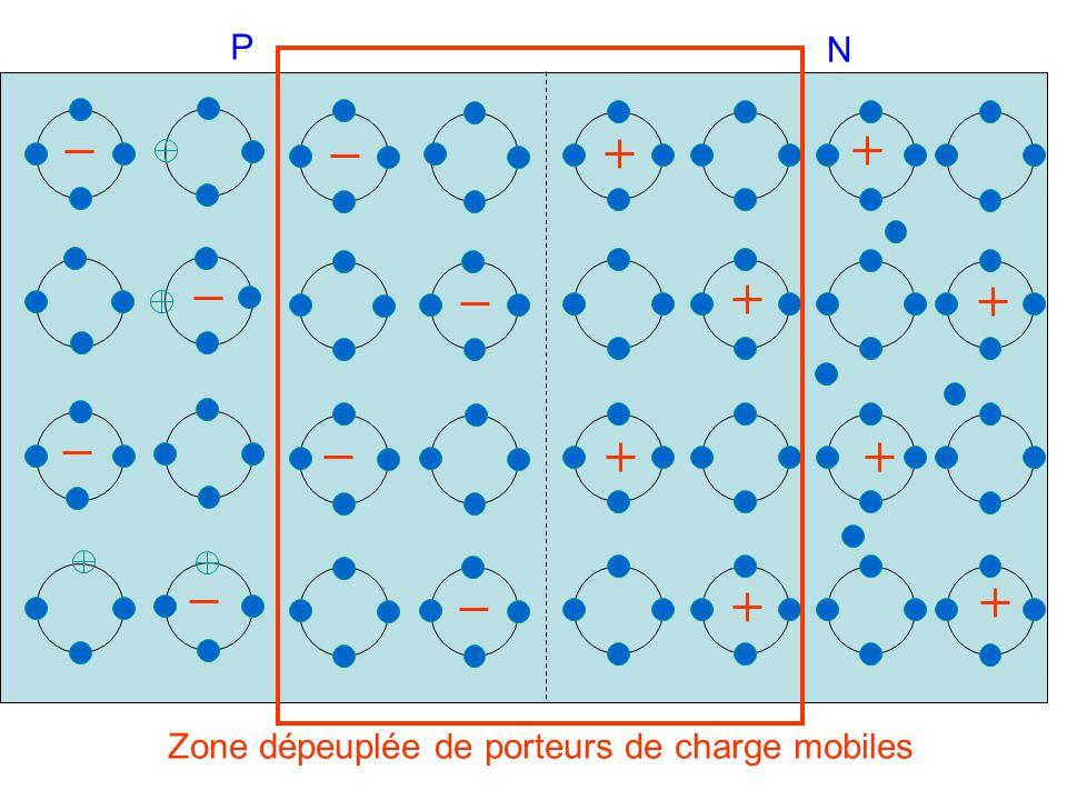 P N Zone dépeuplée de porteurs de charge mobiles