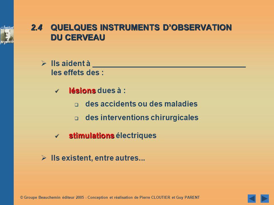 2.4 QUELQUES INSTRUMENTS D'OBSERVATION DU CERVEAU