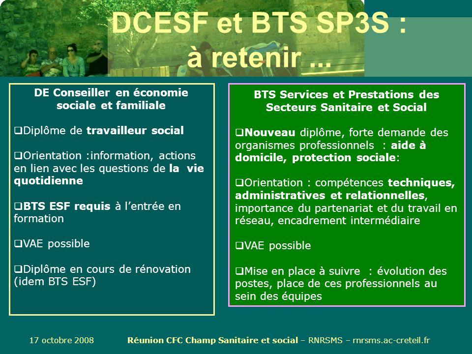 DCESF et BTS SP3S : à retenir ...