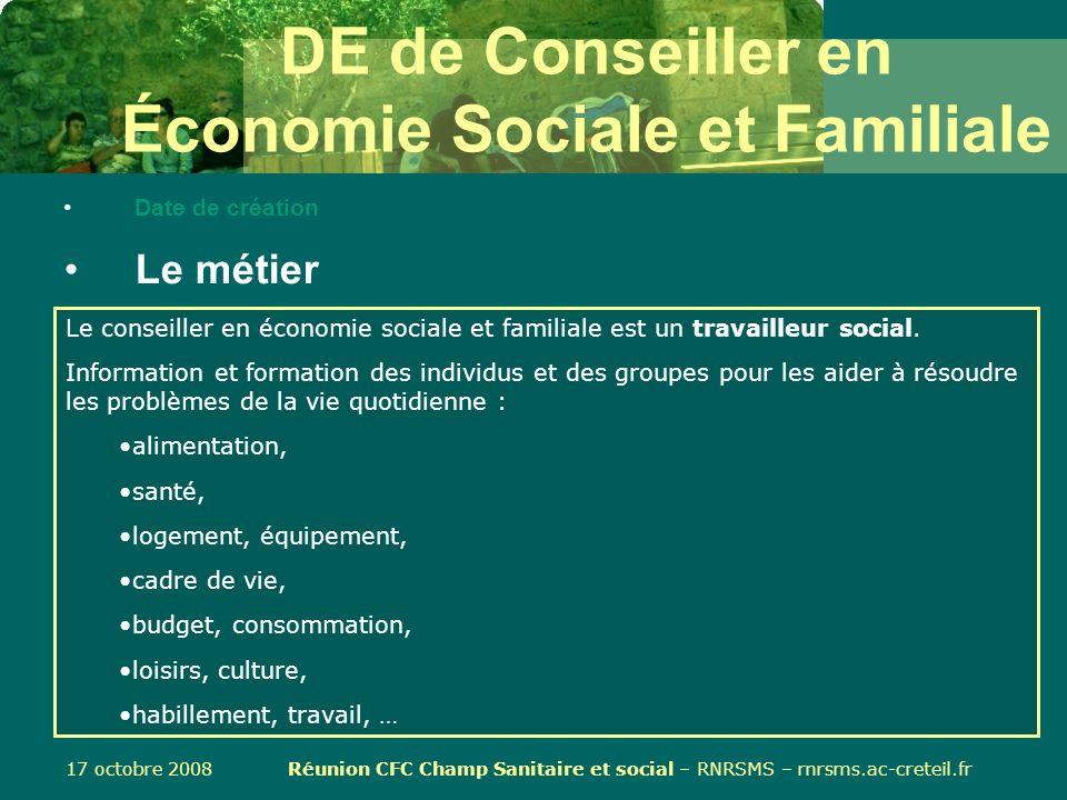DE de Conseiller en Économie Sociale et Familiale
