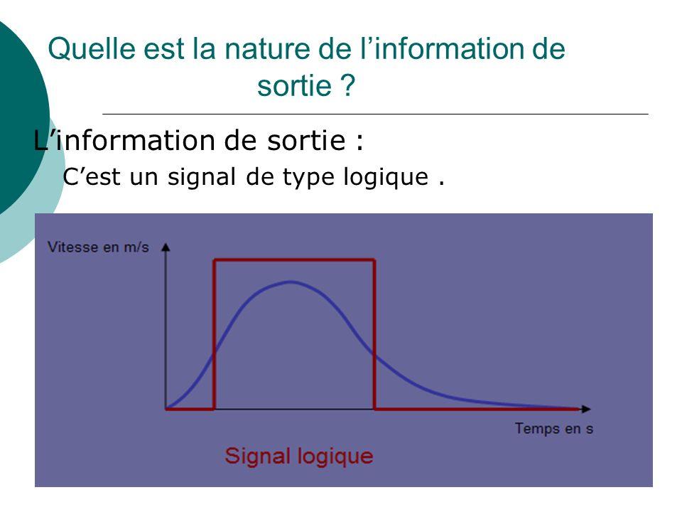 Quelle est la nature de l'information de sortie