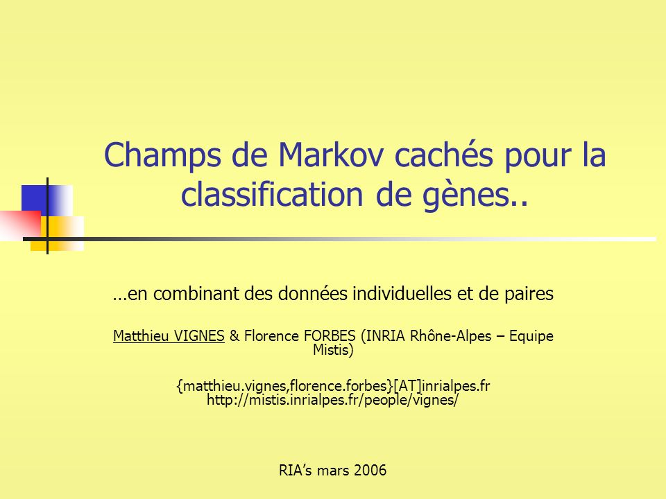 Champs de Markov cachés pour la classification de gènes..
