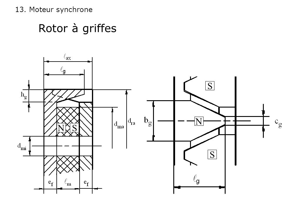 Rotor à griffes S N N S S