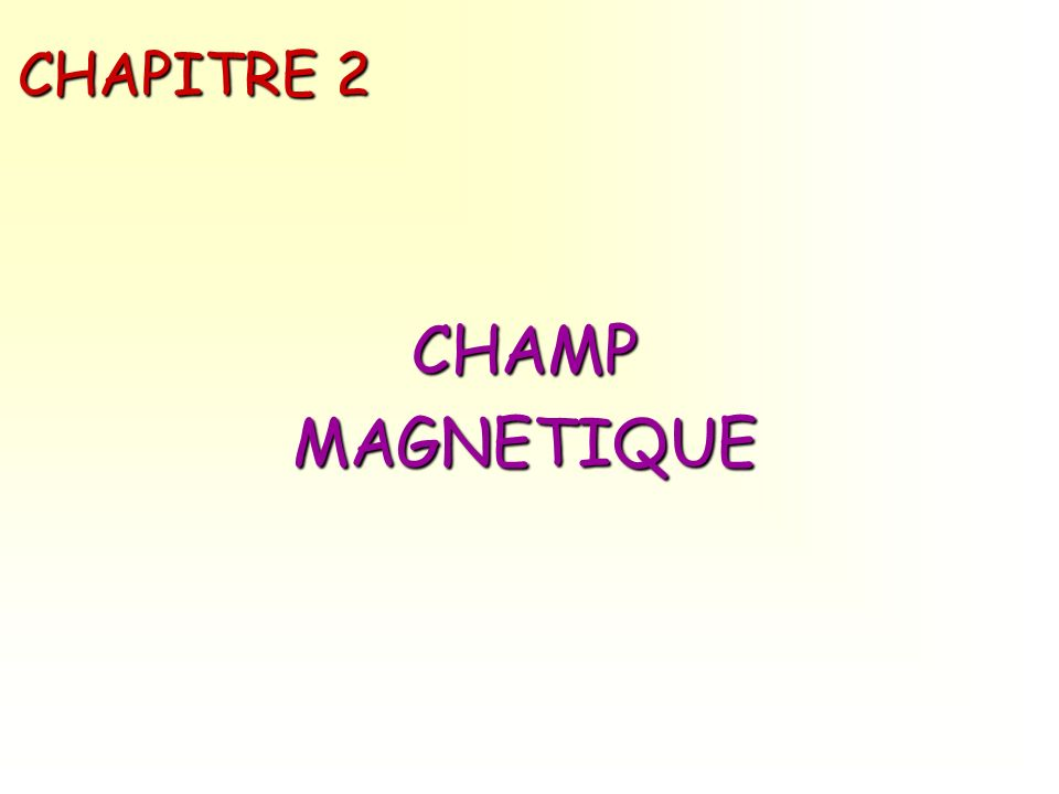 Magnétostatique- Chap.2 CHAMP MAGNETIQUE