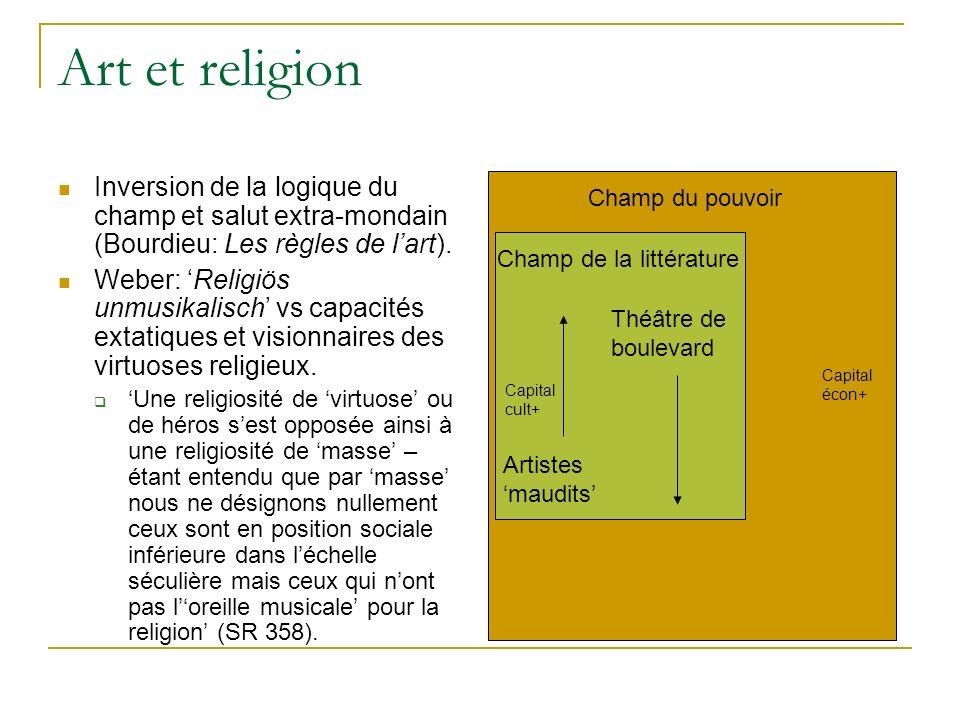 Art et religion Inversion de la logique du champ et salut extra-mondain (Bourdieu: Les règles de l'art).