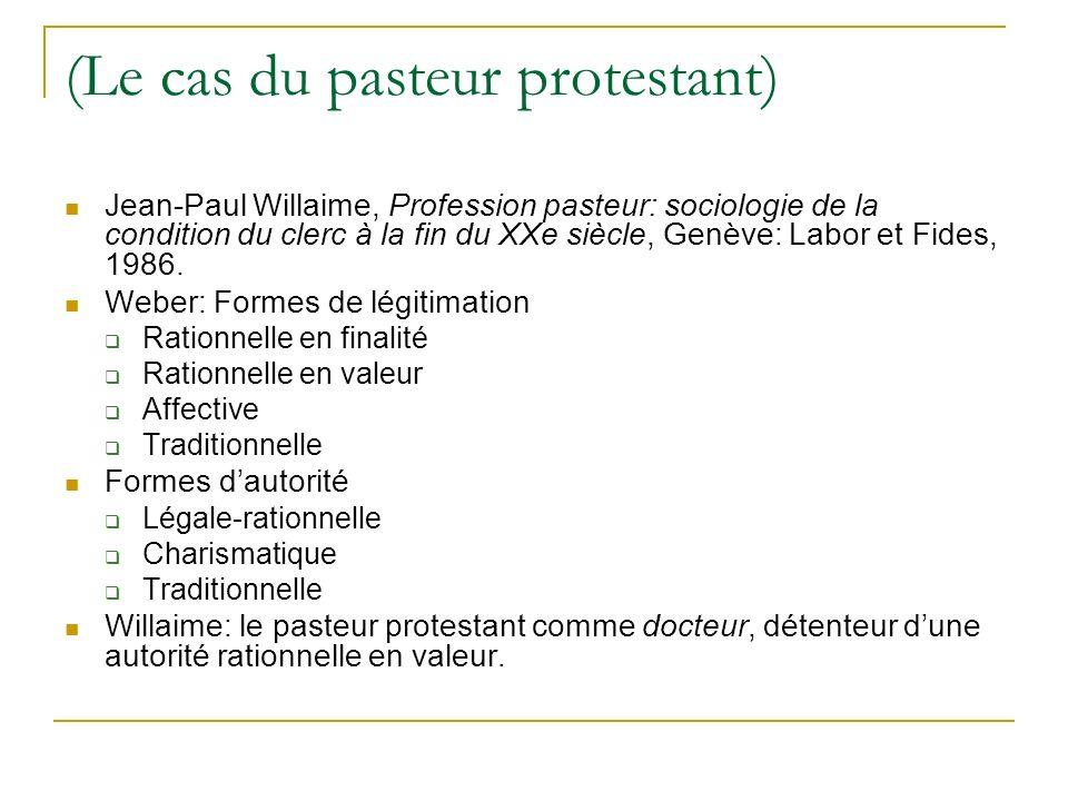 (Le cas du pasteur protestant)