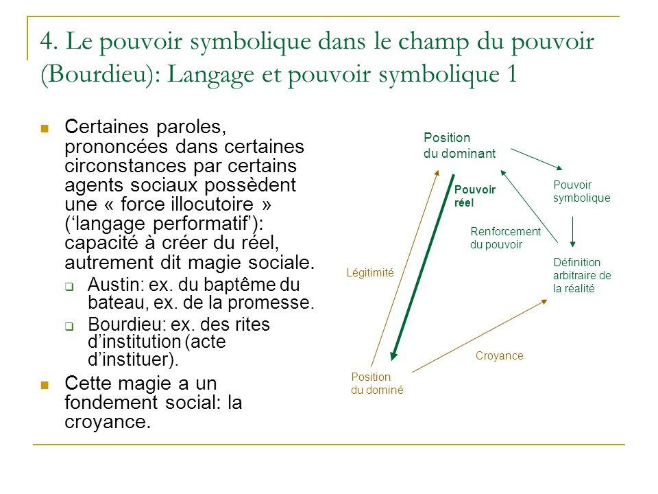 4. Le pouvoir symbolique dans le champ du pouvoir (Bourdieu): Langage et pouvoir symbolique 1