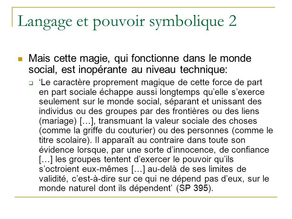 Langage et pouvoir symbolique 2