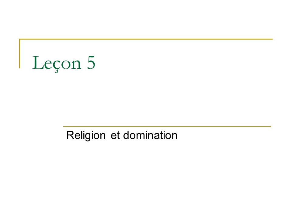 Religion et domination