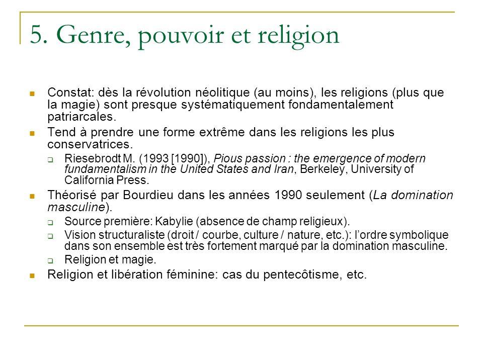 5. Genre, pouvoir et religion