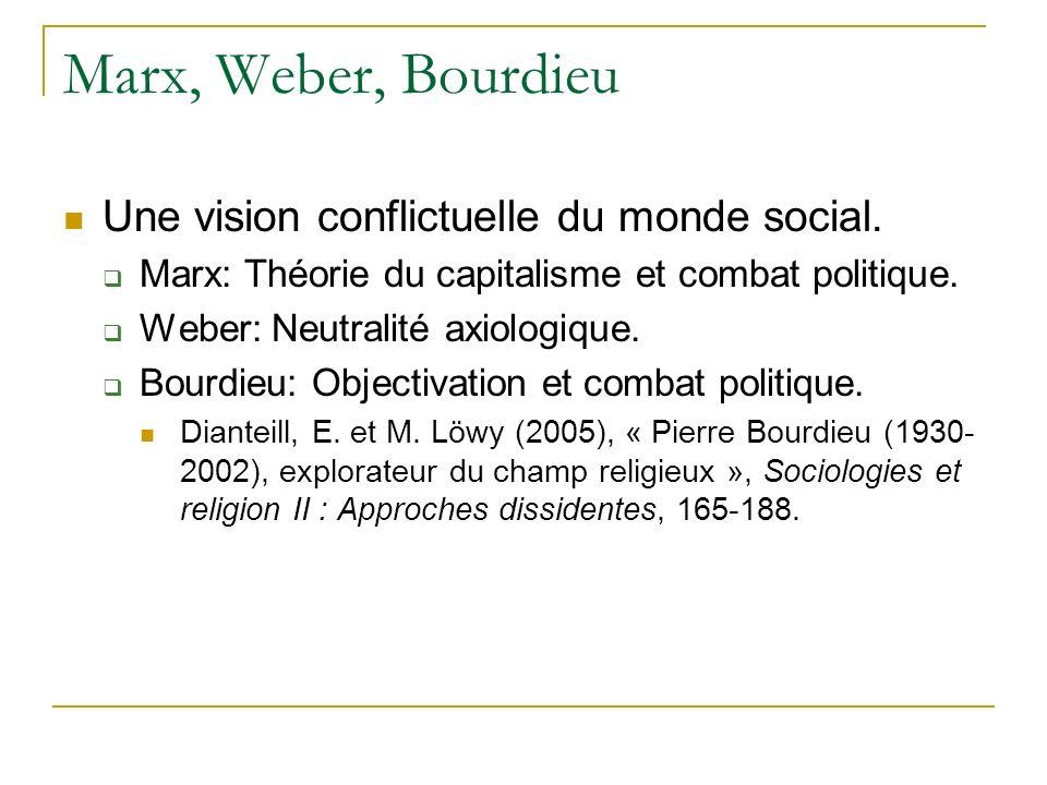Marx, Weber, Bourdieu Une vision conflictuelle du monde social.