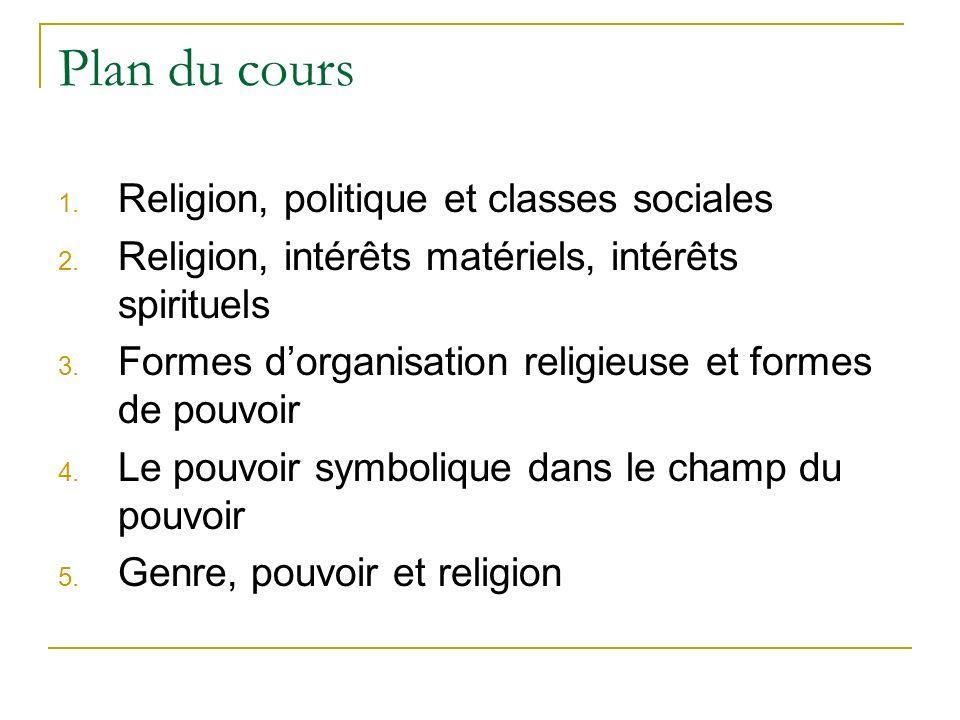 Plan du cours Religion, politique et classes sociales