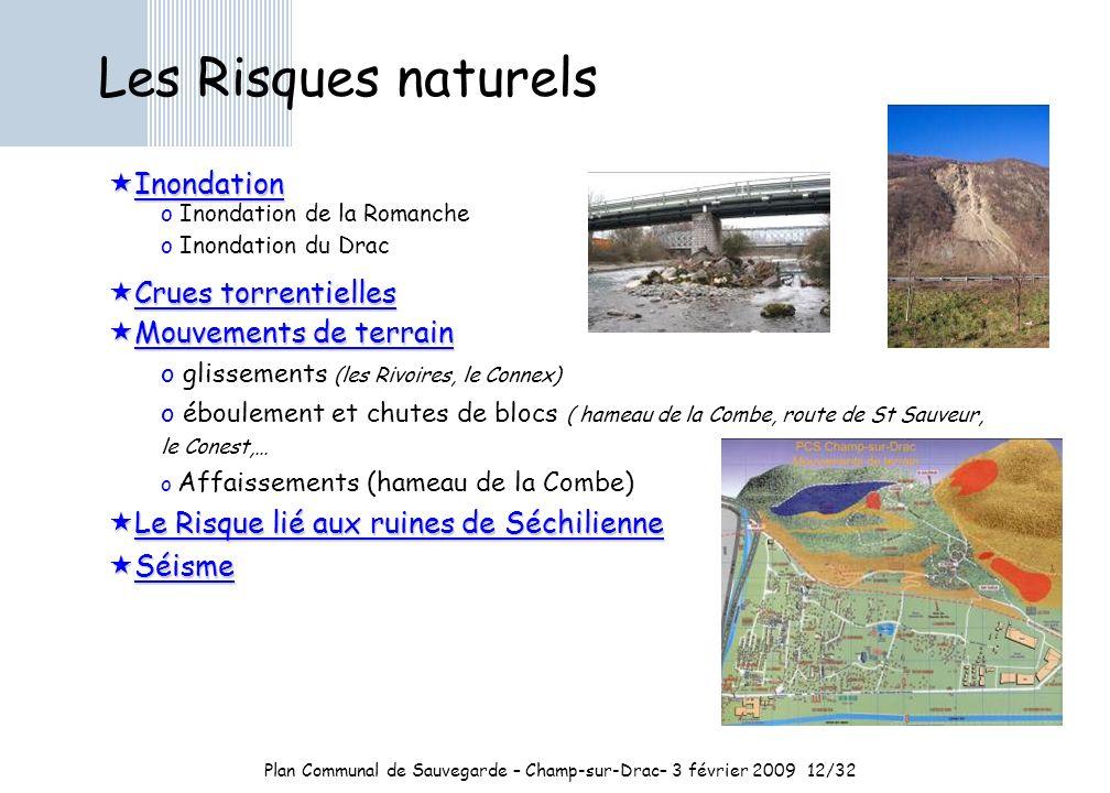 Plan Communal de Sauvegarde – Champ-sur-Drac– 3 février 2009 12/32